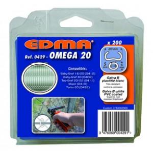 AGRAFES OMEGA 20 - Galva plastifié blanc - 200 pcs