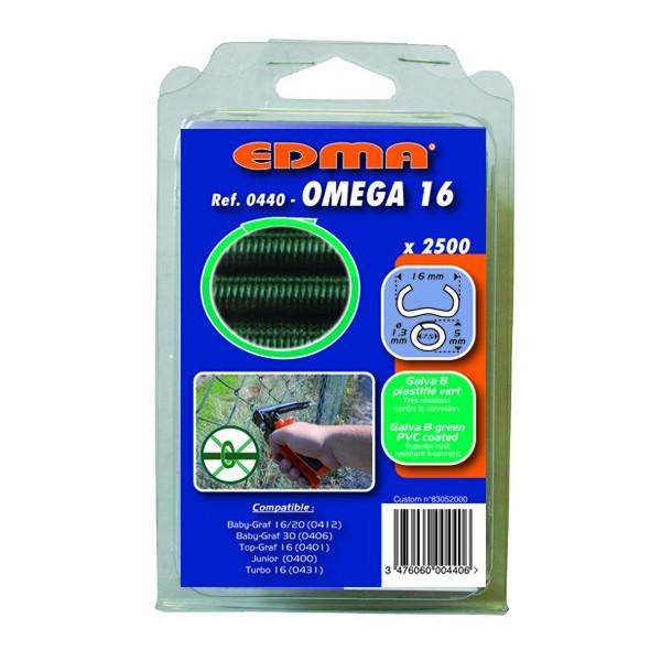 AGRAFES OMEGA 16 - Galva plastifié vert - 2500 pcs