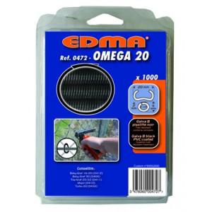 AGRAFES OMEGA 20 - Galva plastifié noir - 1000 pcs