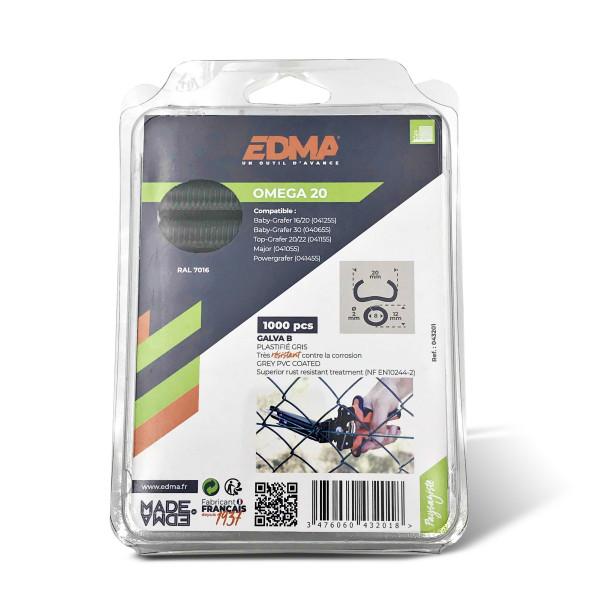 OMEGA 20 STAPLE - Galvanized dark grey PVC coated - x 1000 pcs