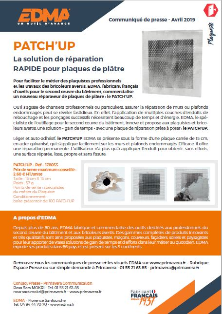 PATCH UP, LE REPARATEUR DE PLAQUE DE PLATRE