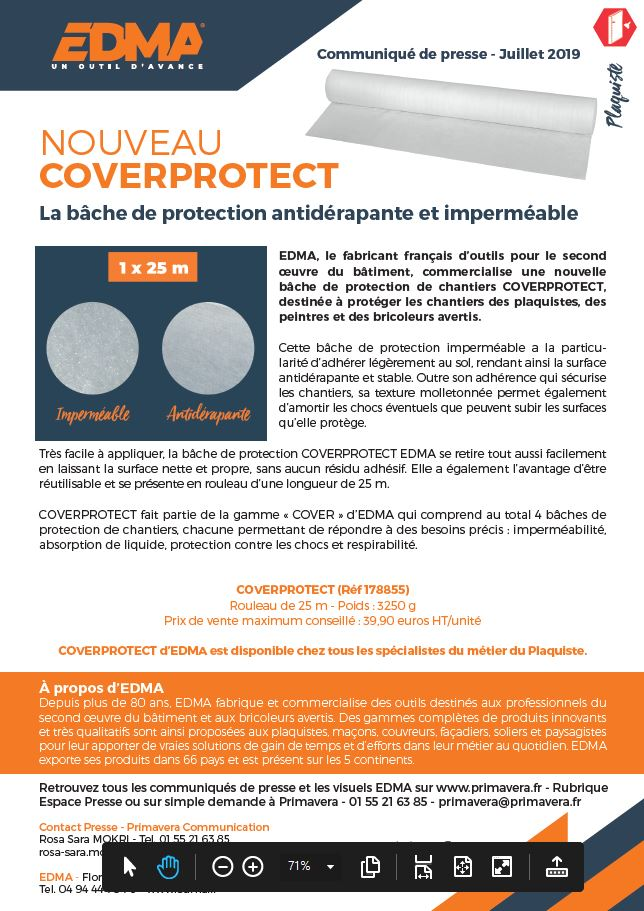 COVERPROTECT, LA BACHE DE PROTECTION ANTIDERAPANTE ET IMPERMEABLE